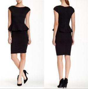 ALICE + OLIVIA Black Ponte Knit Peplum Dress
